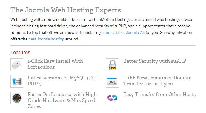 InMotion Joomla Hosting Features