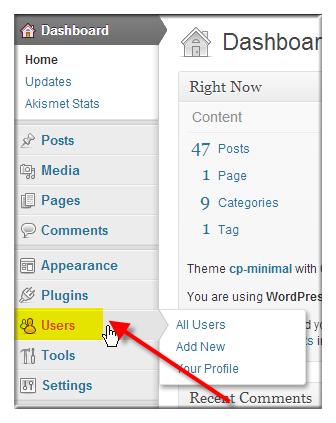Change WordPress Password via WordPress Dashboard - Step 1