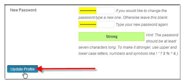 Change WordPress Password via WordPress Dashboard - Step 3