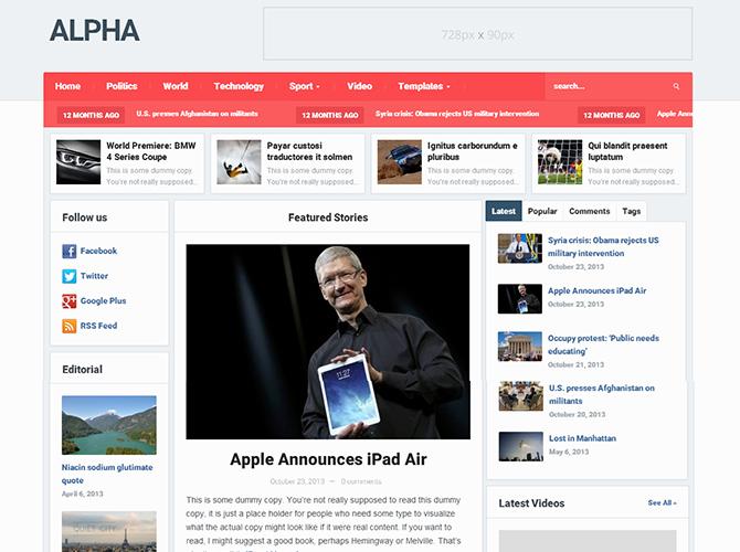 Best 3-Column WordPress Themes - Alpha