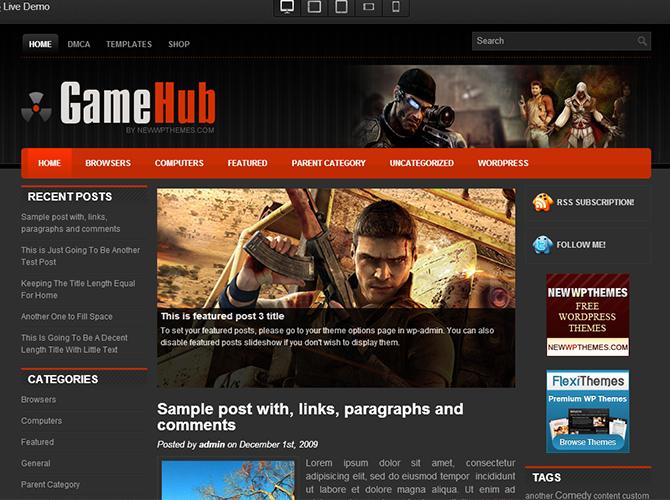 Best 3-Column WordPress Themes - GameHub