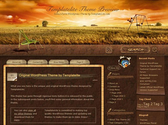 Best 3-Column WordPress Themes - Sunset Farm