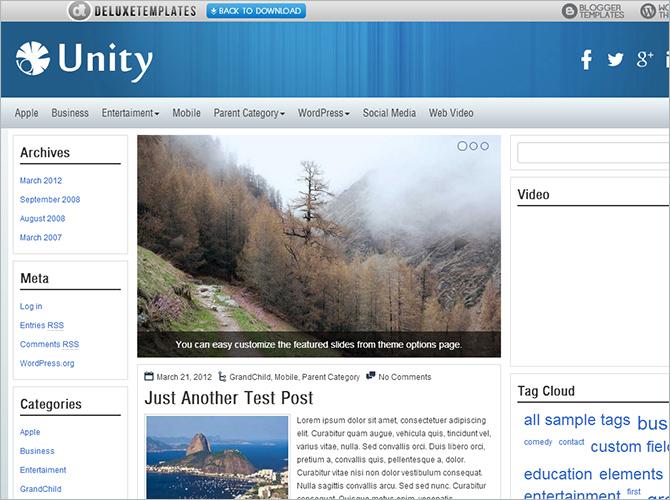Best 3-Column WordPress Themes - Unity