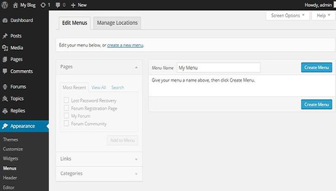 create WordPress custom menu