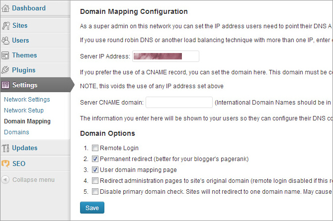 configure wordpress mu domain mapping plugin