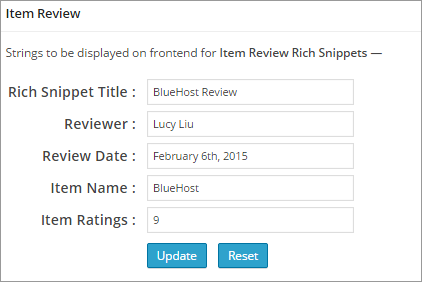 all in one schema rich snippets item review