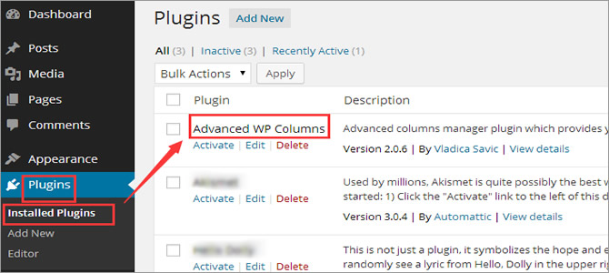 WordPress Multi-Column Content - Install & Activate the Advanced WP Columns