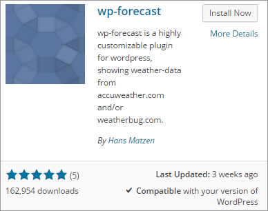 install wp-forecast plugin