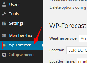 install wp-forecast item