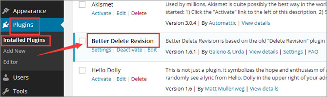 Post Revisions - Installed Plugins Page